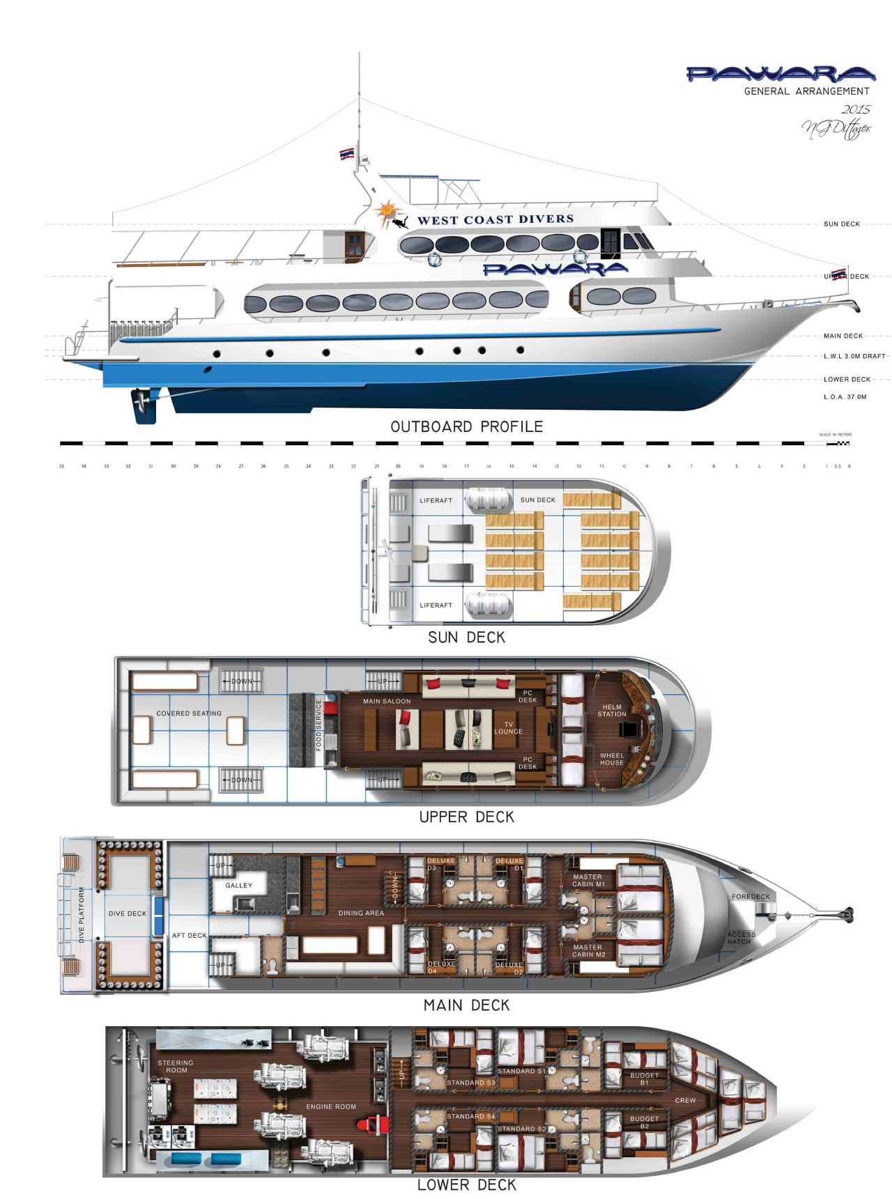 Marine Vessel Pawara's Deck Layout, diving liveaboard to the Similan Islands