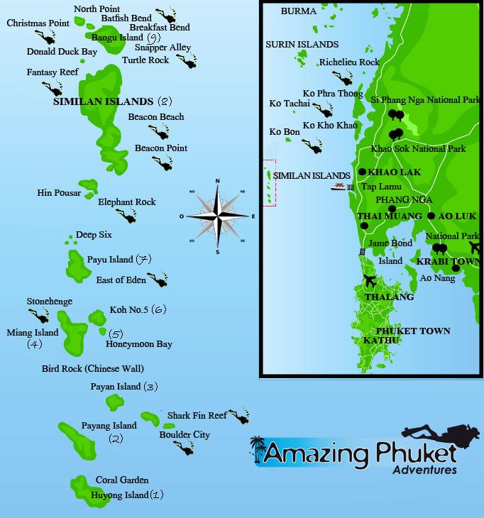 dive site map Similan